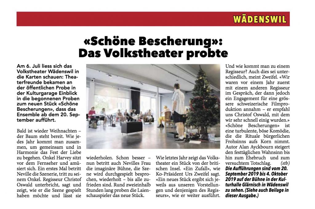 Wädenswiler Anzeiger Bericht